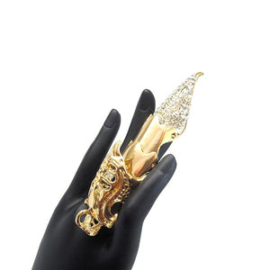 Rhinestone Paved Nail Full Finger Stretch Ring - [collection] - Honeybunnies.com