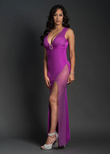 Purple Rein Long Dress Open Front - [collection] - Honeybunnies.com