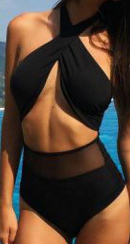 High Waist Two-Piece Black Swimsuit - [collection] - Honeybunnies.com