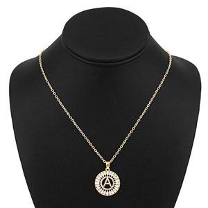 Initial With Pave Marquise And Round Rhinestone Pendant Short Necklace - [collection] - Honeybunnies.com
