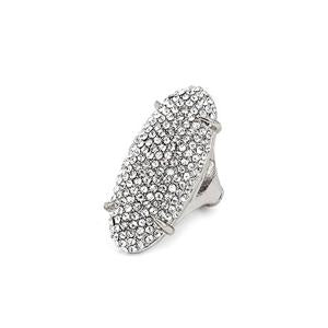 Rhinestone Pave Dome Oval Shaped Cocktail Stretch Ring - [collection] - Honeybunnies.com