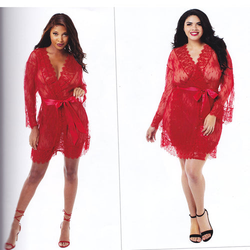 Red Lace Satin Lingerie Kimono - [collection] - Honeybunnies.com