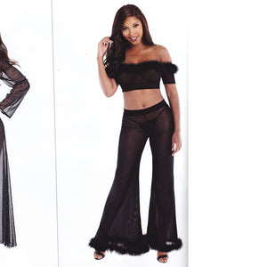 Two-Piece Stretch Mesh Pant Set with marabou feathers - [collection] - Honeybunnies.com