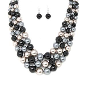 Pearl Beaded Triple Layered Short Necklace - [collection] - Honeybunnies.com