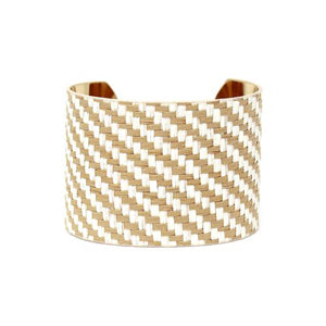 Raffia Basket Weave Wide Cuff Bracelet - [collection] - Honeybunnies.com