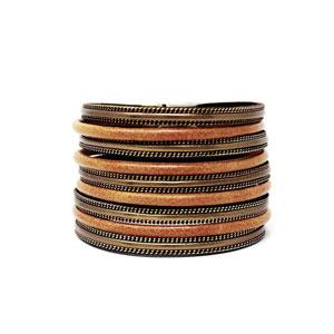 Chain Trimmed Multi Strand Leather Magnetic Bracelet - [collection] - Honeybunnies.com