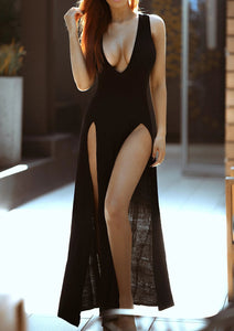 Long Max Dress with Double Slits - [collection] - Honeybunnies.com