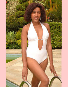 One-Piece White Scoop Swimsuit with Halter Top - [collection] - Honeybunnies.com