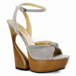 "Taupe Suede *6"" Sculptured Heel, 1 3/4"" Platform Ankle Wrap Knotted Sandal - [collection] - Honeybunnies.com"