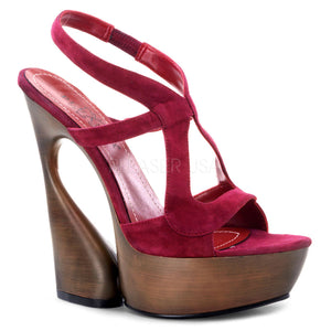 Burgundy Suede Platform Cutout Sling Back Sandal - [collection] - Honeybunnies.com