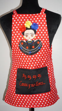 Mini Frida: Ay,Ay,Ay,Ay Canta y no llores..Little Girls Apron.