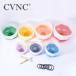 "CVNC set of 7 pcs 6""-12"" Note CDEFGAB with lotus Chakra design Frosted Quartz Crystal Singing Bowl"
