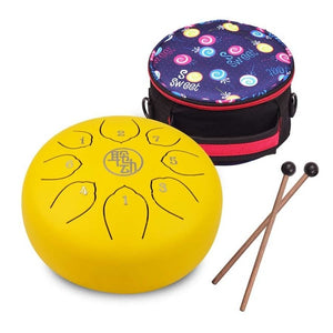 6 Inch Steel Tongue Drum Handpan Drum 8-Notes C-Key Percussion Instrument with Mallets Drum Bag Wiping Cloth for Musical