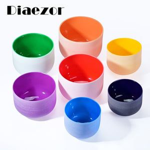 "440Hz 8""-12"" Chakra Energy Set of 7Pcs Colored Frosted Quartz Crystal Singing Bowls C D E F G A B note"