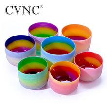 CVNC 6-12 Inch 7 Chakra Rainbow Quartz Crystal Singing Bowl CDEFGAB Set