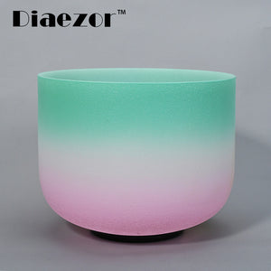 "8 Inch Crown Chakra Candy Colored Frosted Crystal Singing Bowl 8"" for Meditation"