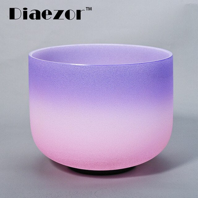 8 Inch Crown Chakra Candy Colored Frosted Crystal Singing Bowl 8