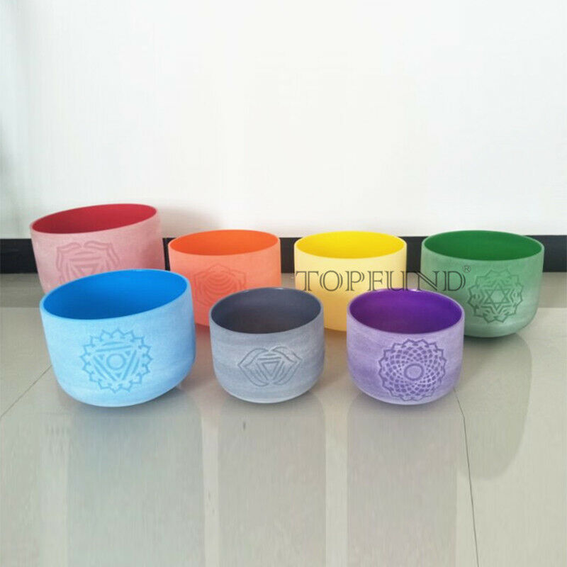 TOPFUND  8''-12'' Chakra Tuned Set of 7PCS Colored Design Frosted Crystal Singing Bowls
