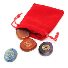7 Pcs Engraved Traditional Chakra Stones with Pouch