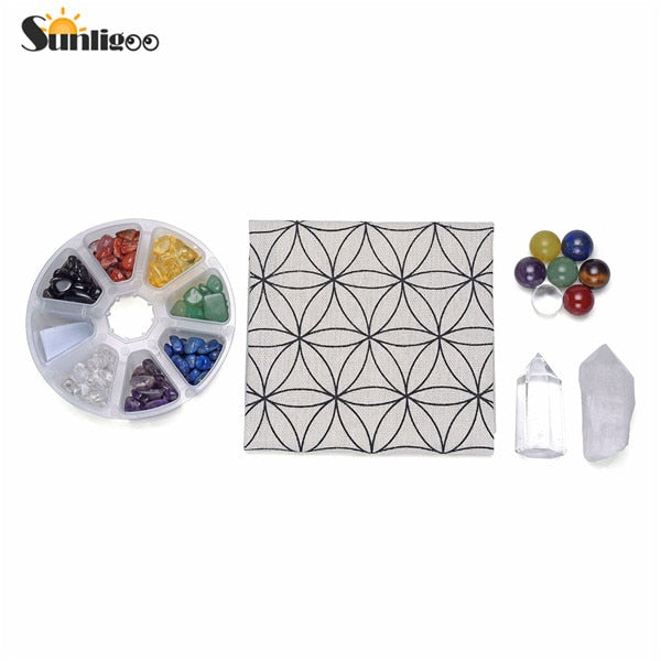 Chakra Crystal Healing Grids Kit/Includes Grids Altar Cloth 7 Chakra Gemstone Beads Assorted Chip Gemstones Clear Quartz