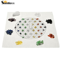 Chakra Crystal Healing Grids Kit / Includes Grids Altar Cloth 7 Chakra Assorted Chips Stones Clear Crystal Quartz Point