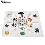 Chakra Crystal Healing Grids Kit/Include Grids Altar Cloth 7 Chakra Assorted Chips Balancing Stones Clear Quartz