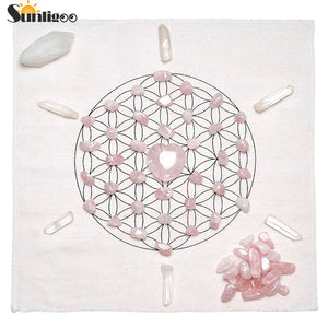 Chakra Crystal Healing Grids Kit / Includes Grids Altar Cloth Rose Quartz Stones Clear Quartz Crystal Wands Points