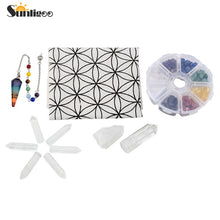 Chakra Crystal Healing Kit/ Lot of 7 Assorted Chips Stones,Chakra Pendulum,Clear Quartz Crystal Points Wands&Grid Cloth