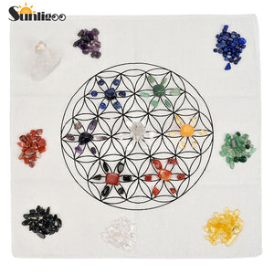 7 Chakra Healing Crystal Grids Kit/Lot of 7 Chakra Tumbles Assorted Chip Gem Stones Clear Quartz Crystal Wands Points