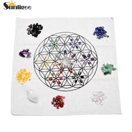 7 Chakra Healing Crystals Grids Kit W/Clear Quartz Pyramid Energy Generator,Clear Quartz Crystal Wand,Grid Altar Cloth