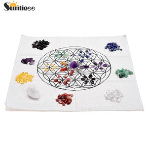 7 Chakra Healing Crystals Grids Kit W/Amethyst Pyramid Energy Generator,Clear Quartz Crystal Wand,Grid Altar Cloth