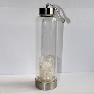 Natural Quartz Crystal Glass Water Bottle Gravel Irregular Stone Cup Point Wand Healing Infused Elixir Cup