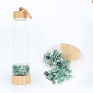 Natural Quartz Crystal Glass Water Bottle Gravel Irregular Stone Cup Point Wand Healing  Cup gemstone glass water bottle