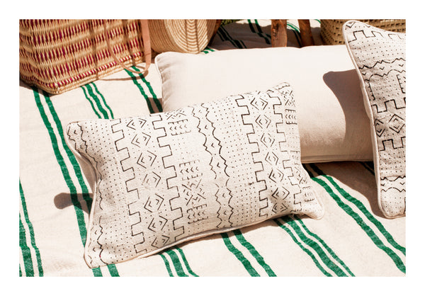 Mud cloth pillow handmade Bogolan Esma Maison Moroccan