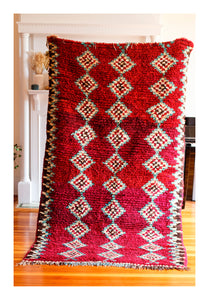MY RED BEAUTY - Vintage Moroccan Boucherouite Rug