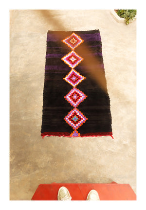 PURPLE BLACK - Vintage Moroccan Boucherouite Runner