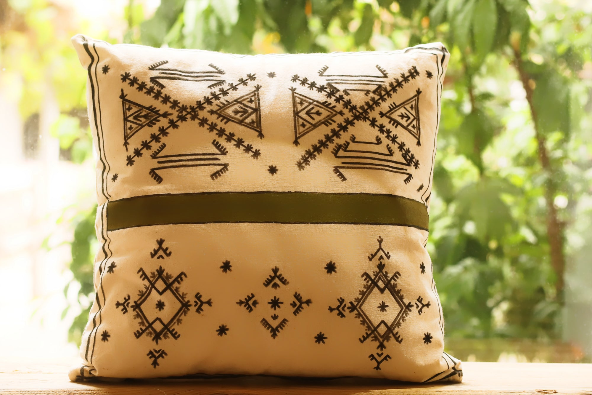 BERBER SYMBOLS - Handpainted Pillow cover by Fatimazahra Rkhami