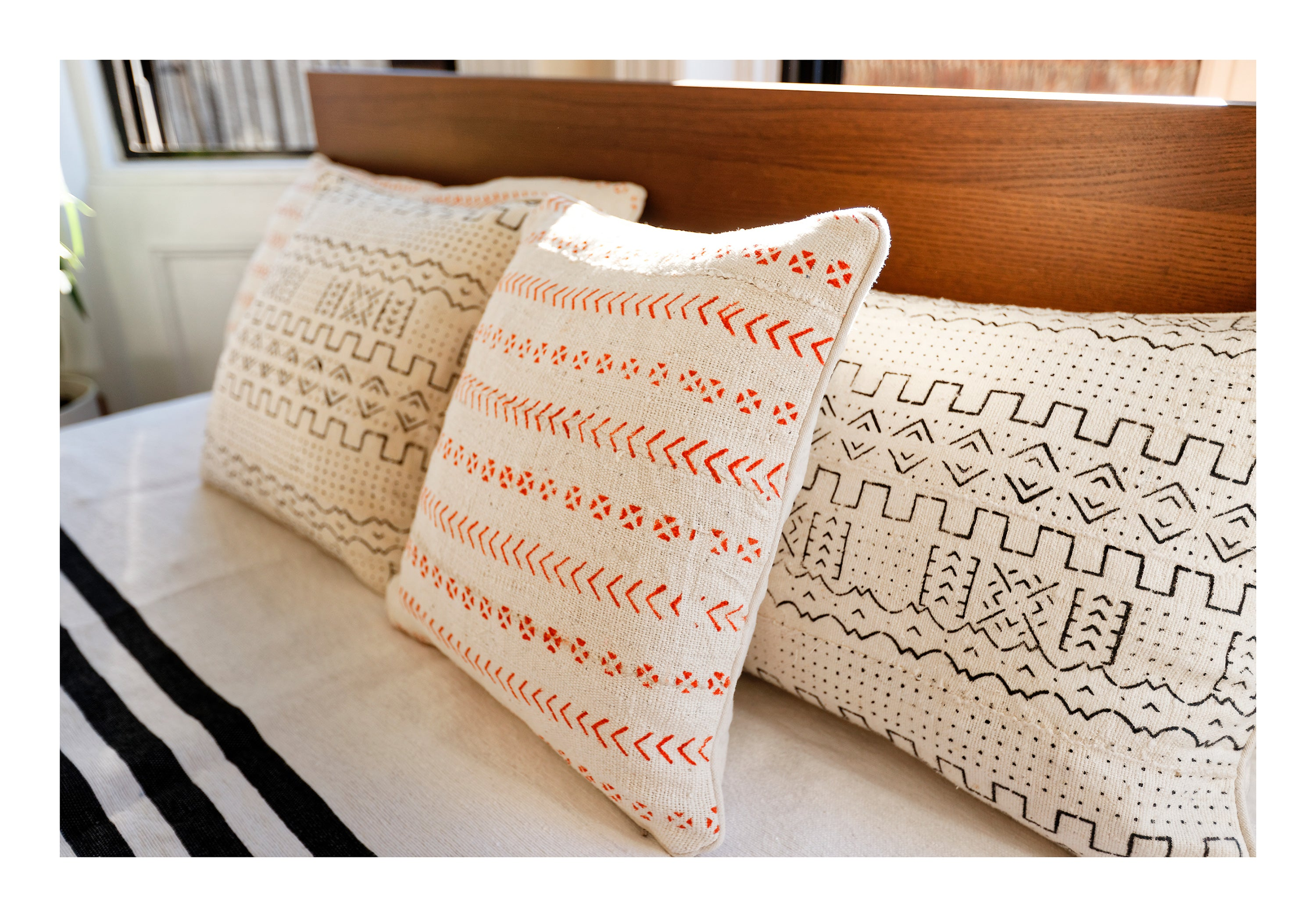 MUD CLOTH PILLOW <br /> Orange & Cream - Square