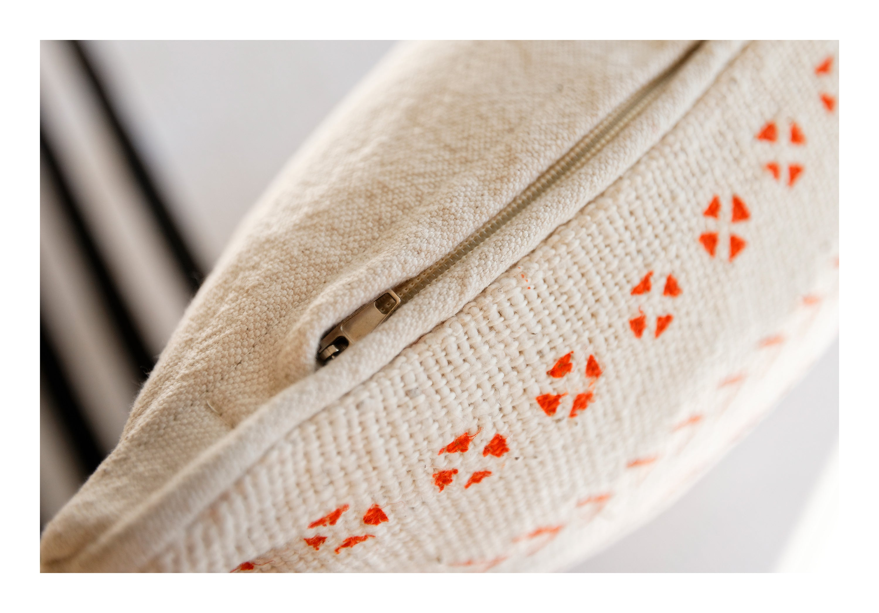 MUD CLOTH PILLOW <br />Orange & Cream - Oversize Lumbar