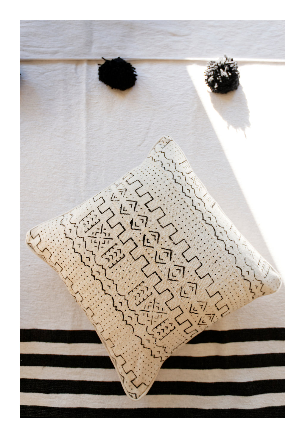 MUD CLOTH PILLOW <br /> Black & Cream - Square