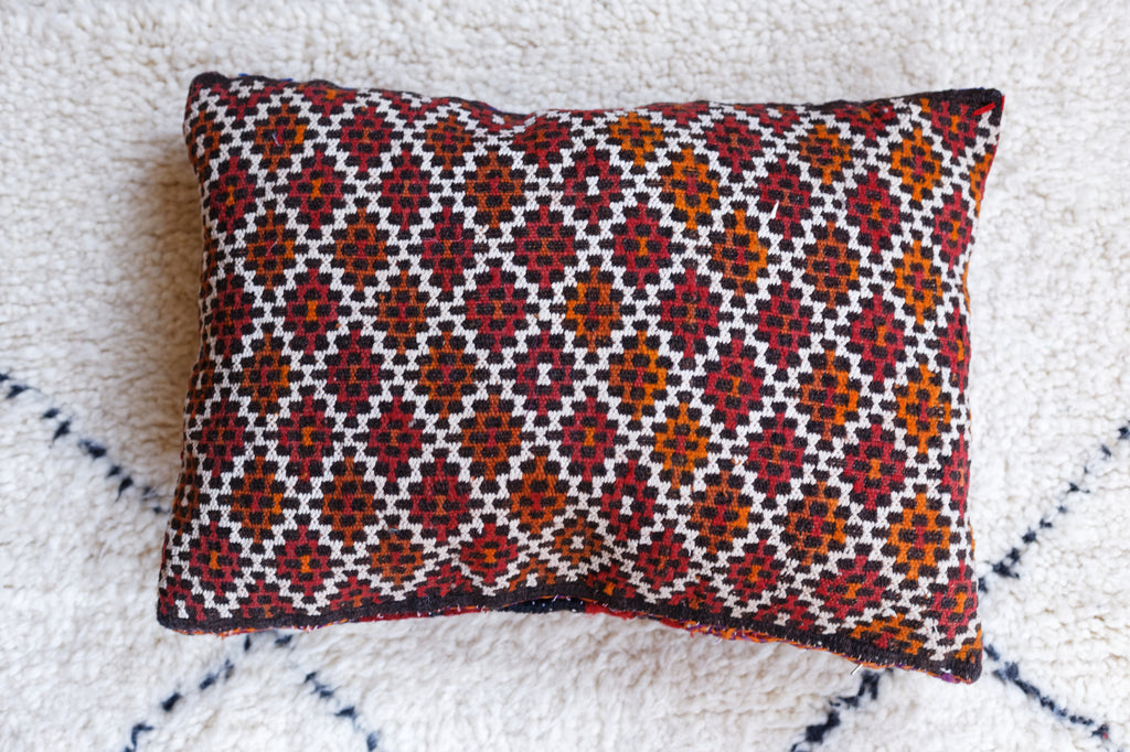 Vintage Kilim pillow cover - Red Moroccan tiles