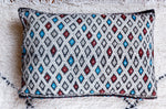 Vintage Kilim pillow cover - White/ Red Moroccan tiles