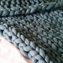 Grey Chunky Wool Throw Blanket | Kasie Creates