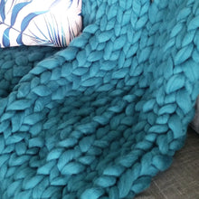 Seafoam Chunky Wool Throw Blanket | Kasie Creates