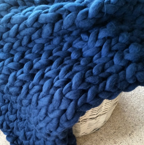 Indigo Chunky Wool Throw Blanket | Kasie Creates