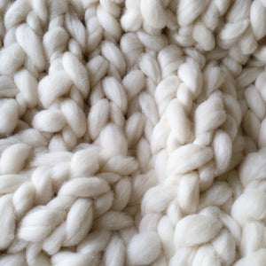 White Chunky Wool Throw Blanket | Kasie Creates