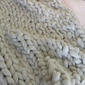 Natural Light Chunky Wool Throw Blanket | Kasie Creates