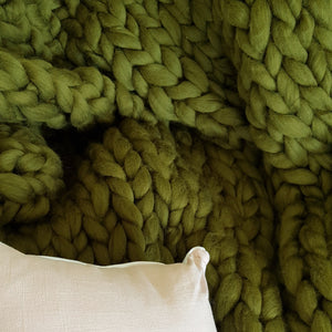 Olive Chunky Wool Throw Blanket | Kasie Creates