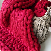 Cherry Red Chunky Wool Throw Blanket | Kasie Creates