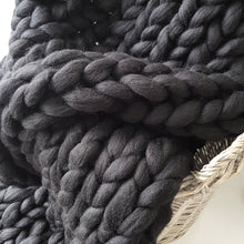 Liquorice Chunky Wool Throw Blanket | Kasie Creates